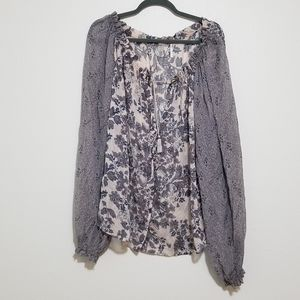 Free People L Button Down Tassle Sheer Blouse Top